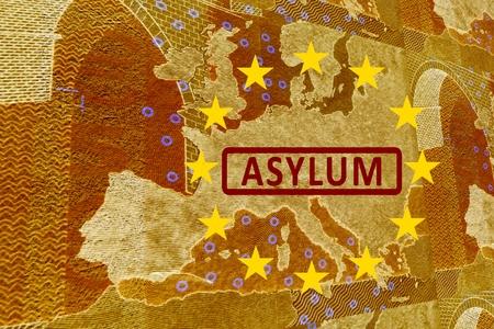 european integration: Asylum in Europe -On the map of Europe is the lettering ASYLUM. Surrounded by the European Circle of Stars.
