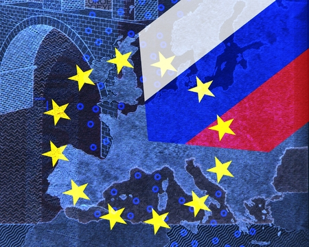Relationship Europe - Russia -In the map of Europe, Which is covered with the European flag, protrudes from the upper right into the Russian flag.