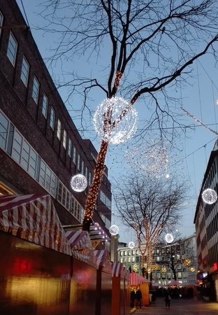 christmas market: Christmas Market - Christmas decorated with street stalls on the Christmas market at dusk, Germany, Essen 10.12.2015