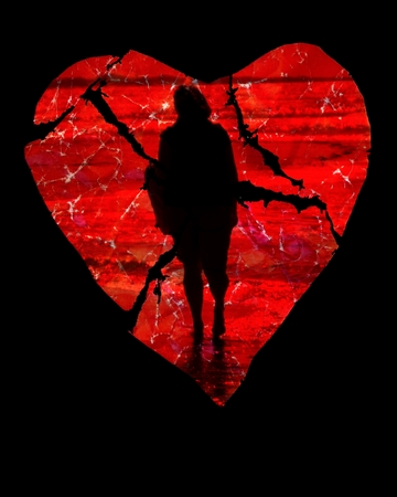 black woman: Farewell - On a red, torn paper heart the shadow of a woman walking away can be seen. Background: black.