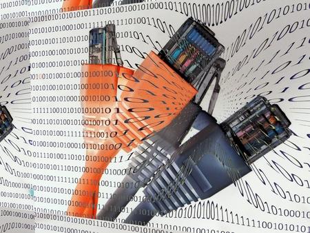 Las conexiones de cable en frente de un fondo digital de 0 y 1, que se hunde en las profundidades de los conectores del cable - digitalización.