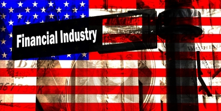 stockbroker: Financial Industry - In the foreground a street sign labeled Financial Industry, behind the American flag.