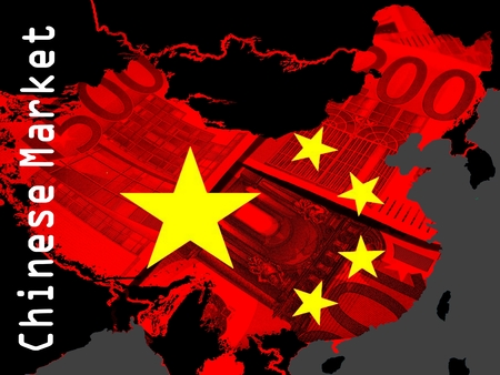 emerging markets: Chinese Market - A red outline map of China in a black area. On the map the stars of the Chinese flag. Translucent some euro bills Stock Photo