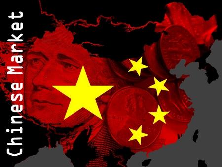 mapa china: Mercado chino - Un mapa de contorno de color rojo de China en un área de color negro. En el mapa de las estrellas de la bandera china. billetes de un dólar y monedas sueltas translúcidos