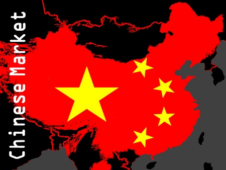 emerging markets: Chinese Market - A red outline map of China in a black area. On the map the stars of the Chinese flag. Stock Photo
