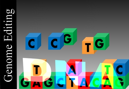 genomic: Genome editing - Incomplete DNA beach, above are the missing blocks. Links erect the title: Genomic Editing. Background: black and gray gradient.