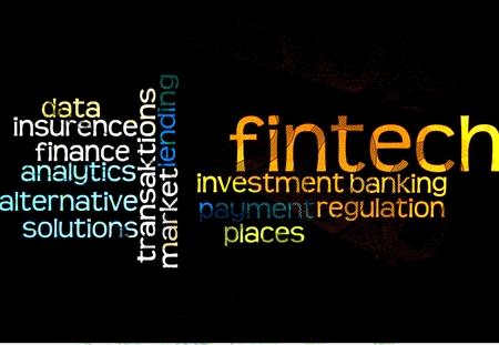 enabling: FinTech - Word cloud to FinTech (financial technology) against a black background