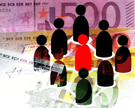 participatory: Social Trading - Red and Black icons standing cone formation, background: Euro bills