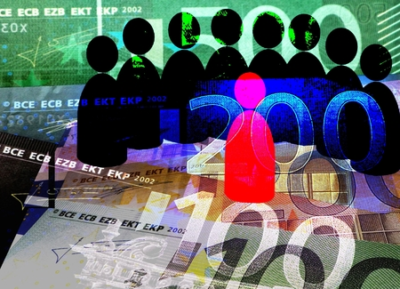 participatory: Social Trading - red and black symbols indicate a lecture situation, background: Euro bills.