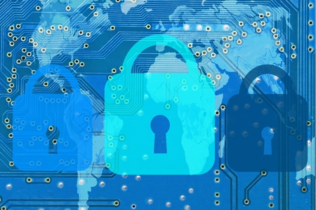 vulnerabilities: IT security - Three symbolic locks on the inter-connections of a computer board, upon a world map, blue Stock Photo