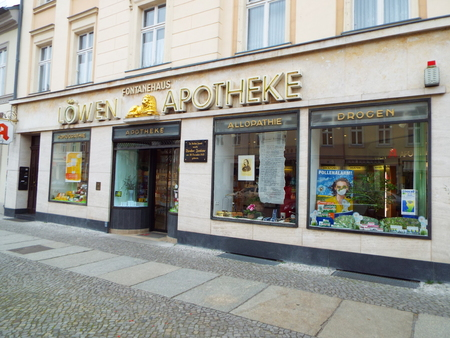 theodor: Lion Pharmacy, City of Neuruppin, the birthplace of the famous German poet Theodor Fontane. Germany 04.13.2016