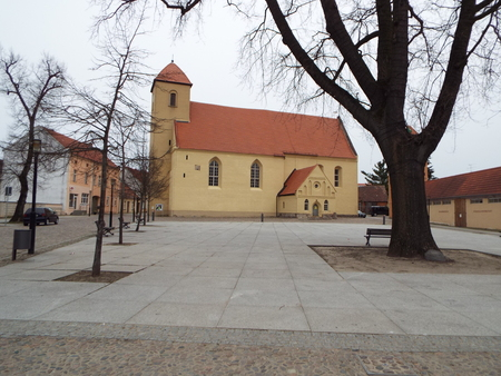frederick: Evangelical Church of St. Lawrence, in front of the marketplace in Rheinberg, Germany 10042016 - In Rheinberg Castle the young Crown Prince Frederick lived before he what crowned King Frederick II of Prussia.. Editorial