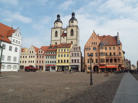 reformer: Towers of St. Marys Church, Wittenberg, Germany 04.12.2016 At the door of the Castle Church in Wittenberg reformer Martin Luther nailed his 95 theses. By Luther and Melanchthon, the Wittenberg wurde the center of the Reformation. Editorial