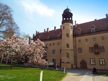 Luther-house where Martin Luther lived and taught, Wittenberg, Germany 04.12.2016 At the door of the Castle Church in Wittenberg reformer Martin Luther nailed his 95 theses. By Luther and Melanchthon, the Wittenberg wurde the center of the Reformation.