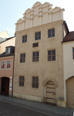 Wittenberg: Luther City - Melanchthon House, here lived, taught and died Philipp Melanchthon, Wittenberg, Germany 04.12.2016 - At the door of the Castle Church in Wittenberg reformer Martin Luther nailed his 95 theses. By Luther and Melanchthon, the Witte