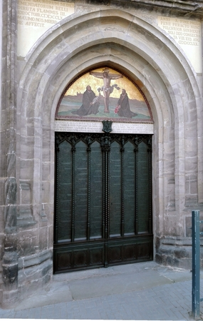 Wittenberg: Luther City - Tower of the Castle Church of All Saints, Wittenberg, Germany 04.12.2016 At the door of the Castle Church in Wittenberg reformer Martin Luther nailed his 95 theses. By Luther and Melanchthon, the Wittenberg wurde the center of th Editorial