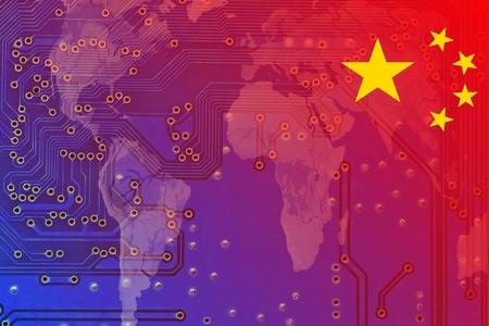 chinese map: China en una econom�a global digitalizada - La bandera china se extiende desde la parte superior derecha cada vez se vuelven transparentes en un mapa del mundo. En esta cableado de un mapa en la computadora puede ser visto.