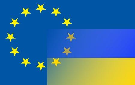 Relationship EU - Ukraine: The Ukrainian flag (bottom right) extends into the circle of stars of the European flag. Standard-Bild
