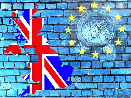 Britain and the EU - The map of Great Britain in the national colors in front of a blue brick wall with the European circle of stars. Translucent: a Euro coin.