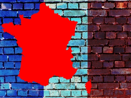 Topics to France (background) on a brick wall, the flag of France is projected. Next to it is a map of the country.