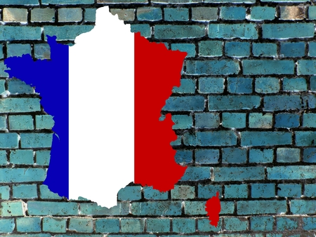 Topics to France (background) Background: a blue brick wall.