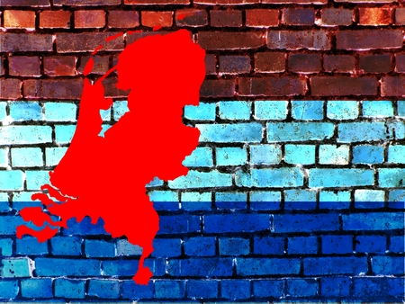Topics to the Netherlands (background) - The red map of the Netherlands is projected on a brick wall in the national colors.