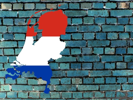 Topics to the Netherlands (background) - Links The map of the Netherlands in the national colors. Background: a blue brick wall