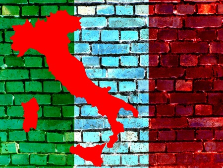 Topics to Italy (background) - On a brick wall the flag of Italy is projected. Next to it is a map of the country.