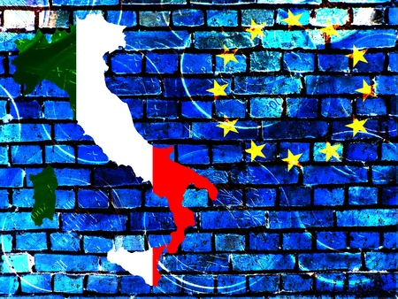 Italy and the EU - The map of Italy in the national colors, right next to the European circle of stars against a blue brick wall as background.Translucent: Euro coins.