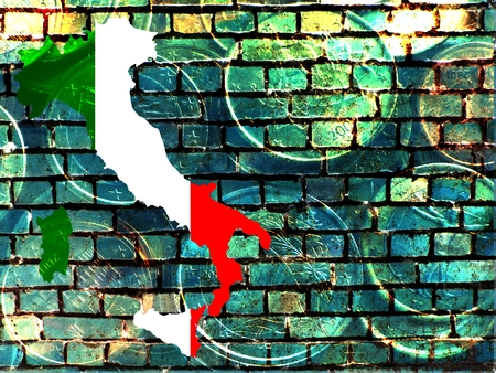 Italy and the EU - The map of Italy in the national colors, against a blue-green brick wall as background. Translucent: Euro coins.