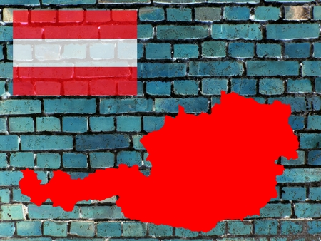 Topics to Austria (background) - The red map of Austria against a blue-gray brick wall. Top left: the national flag. Standard-Bild