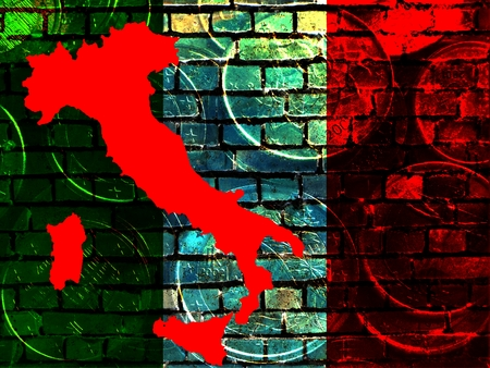 Italy and the EU -The red map of Italy is projected on a brick wall in the national colors.Translucent: Euro coins.