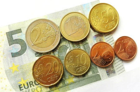 Germany minimum wage increase - Increased The German minimum wage from 2017th as 5 euro note and coins. Standard-Bild