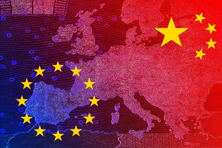 China's relationship with Europe - The Chinese flag and the European flag overlap on the banner map of Europe