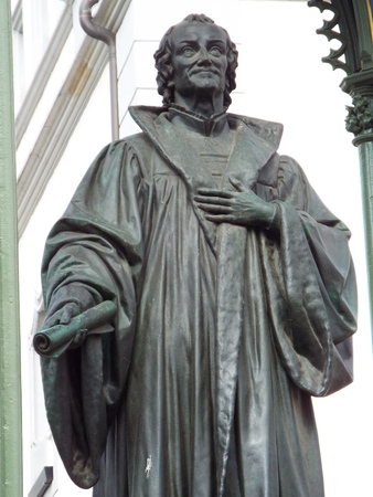 Monument Melanchthon on the market square in front of the townhall, Wittenberg, Germany 04.12.2016 - At the door of the Castle Church in Wittenberg reformer Martin Luther nailed his 95 theses. By Luther and Melanchthon, the Wittenberg wurde the center of  Editorial