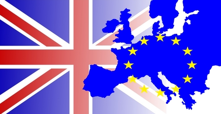United Kingdom and Gibraltar European Union membership referendum - The British flag outshines the map of Europe, marked by the European stars. Stock Photo