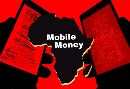 African Mobile Money - Two smartphones show the currencies of Africa. Between: A map of the continent in black with the inscription mobile money. Background: red.