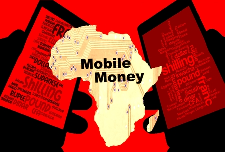 African Mobile Money - Two smartphones show the currencies of Africa. Between: A map of the continent in yellow with the inscription mobile money. Background: red.
