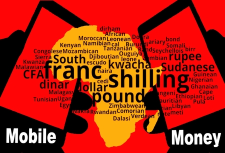 African Mobile Money - Two smartphones are in the foreground. Between: A map of the continent in yellow. Above a tag-cloud with the African currencies. Inscription: Mobile Money.
