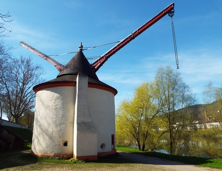 Trier - Moselle cranes Old cranes Moselle on the Moselle river in the city of Trier. Harbor crane with swivel roof. Europe, Germany April 6, 2017 Editorial