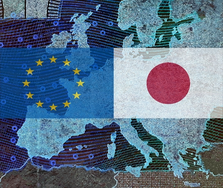 EU - Japan relationship - The flags of Japan and Europe lie over a map of Europe. While TTIP - the trade agreement with the United States (JEFTA), the negotiations on a trade agreement with Japan (JEFTA) were carried out as soon as possible. Slowly the pr