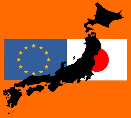EU - Japan relationship - The flags of Japan and Europe lie over a map of Japan. While TTIP - the trade agreement with the United States (JEFTA), the negotiations on a trade agreement with Japan (JEFTA) were carried out as soon as possible. Slowly the pro