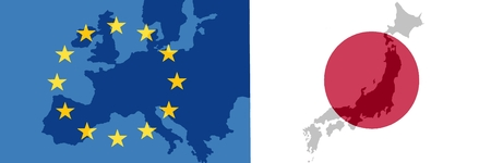 EU - Japan relationship - The flags of Japan and Europe each with a translucent map of the country. While TTIP - the trade agreement with the United States (JEFTA), the negotiations on a trade agreement with Japan (JEFTA) were carried out as soon as possi