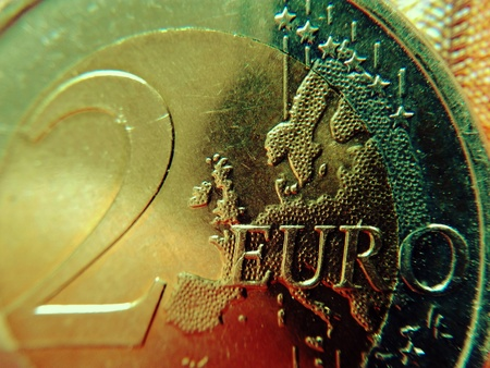 Europe on the two-euro coin - The euro card of a euro coin as a cut-out. Standard-Bild