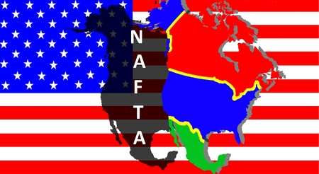 NAFTA - American trade agreement - A map of Mexico, the USA and Canada on the American flag. Beside a shadow map in black as a symbol of the NAFTA. Inscription: NAFTA