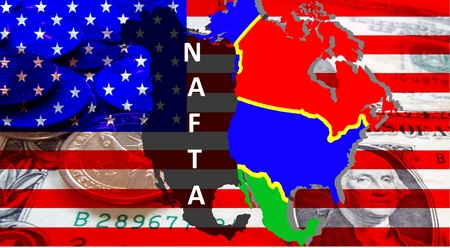NAFTA - American trade agreement - A map of Mexico, the USA and Canada on the American flag. Beside a shadow map in black as a symbol of the NAFTA. Dollar notes are shining through. Inscription: NAFTA Standard-Bild
