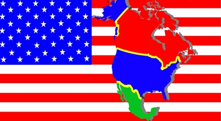 NAFTA - American trade agreement - A map of Mexico, the USA and Canada on the American flag.