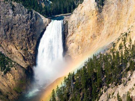 lower yellowstone falls: Morning Rainbow at Lower Falls, Yellowstone River Stock Photo