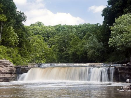 cataract falls: Lower Cataract Falls, Wide Waterfall in Lieber State Recreation Area, Indiana Stock Photo