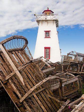 lobster: Lighthouse and Lobster Traps, North Rustico, PEI